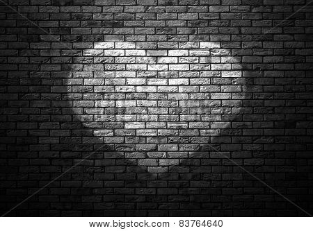 Dimly Lit Old Brick Wall Enlightened Cone Of Light In The Shape Of Heart