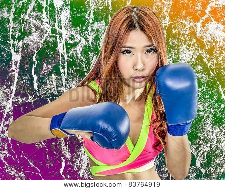 Beautiful Asian Woman Boxer With Grungy Texture