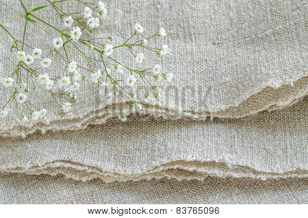 Still Life With Bouquet Flowers On Linen Tablecloths
