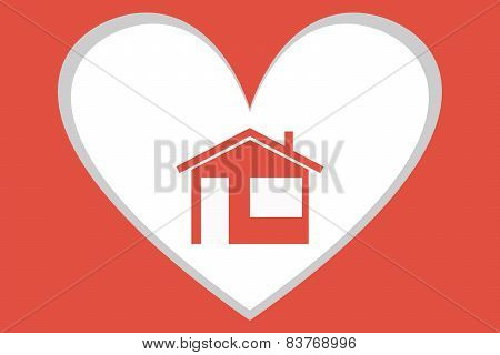 Little red house on a background of heart