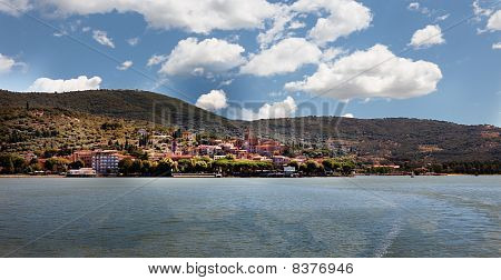 Panoramic view of Passignano at Lake Trasimeno, Umbria, Italy