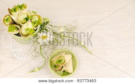 Savory Cannoli Stuffed With Ricotta, Peas And Parsley. Overhead View, Horizontal