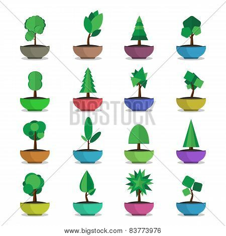 bonsai trees vector  icons set japanese style