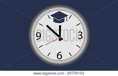Time to learn. Clock with symbol of education