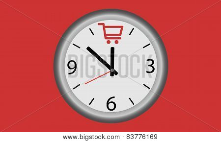 Time for shopping. Clock with shopping baskets symbol.