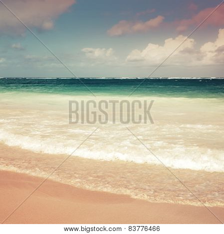 Square Colorful Sea Landscape. Atlantic Ocean Coast