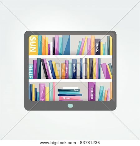 E-book reader with book shelf. Vector flat illustration.