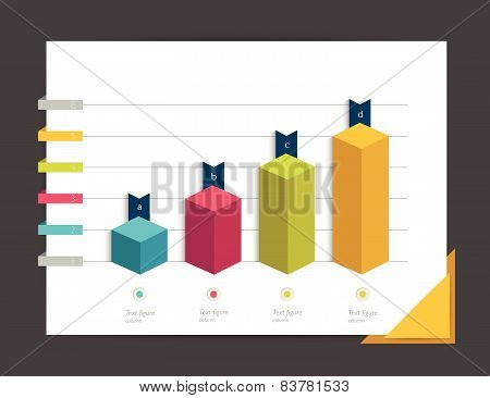 3D chart, graph. Simply color editable. Infographics elements.