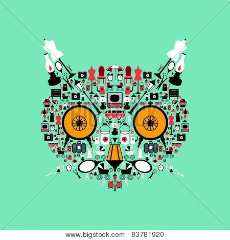 Cat head made from retro icons. Stylized animal shape.