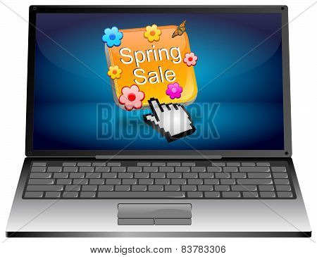 Laptop computer with spring sale button