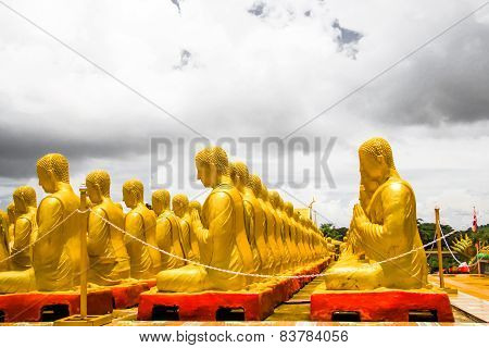 Golden Buddha At Buddha Memorial Park , Nakorn Nayok, Thailand.