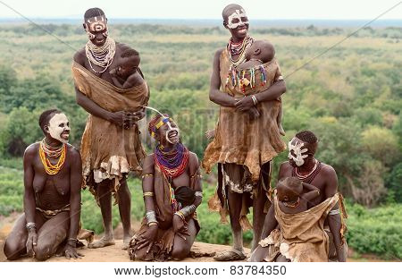 Group Of Mothers From Karo Tribe, Ethiopia