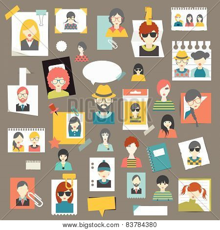 Set of people profile head stickers, reminders. Avatars pictures.