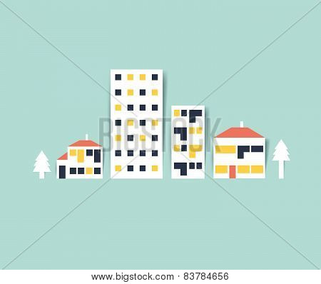 City street Illustration. Colored town silhouette.Flat vector design.