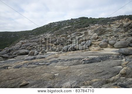 Multiple rocks at Blowholes sight in Torndirrup National Park near Albany