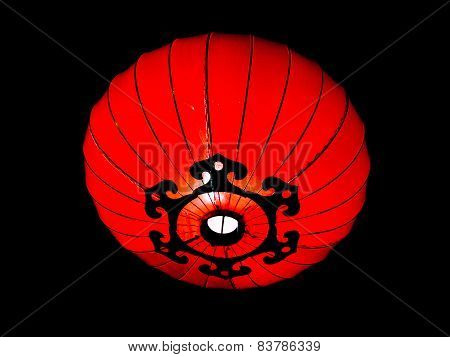 Bright red chinese lantern at night