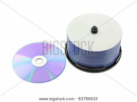 DVD, CD on White Background