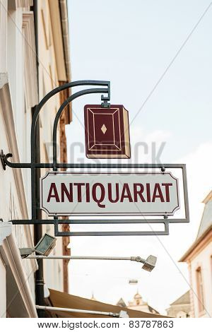 Antique Bookstore Sign - Antiquariat