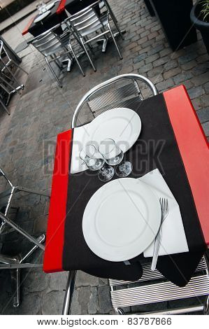 Cafe Tables In French City Of Lyon, France