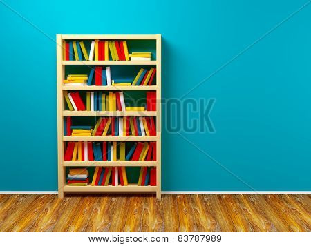 bookcase on a blue wall 3D illustration