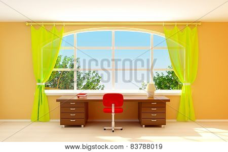 interior office with window 3D Illustration