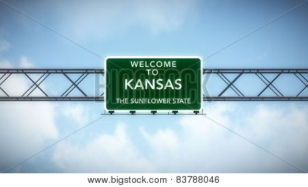 Kansas USA State Welcome to Highway Road Sign