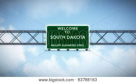 South Dakota USA State Welcome to Highway Road Sign