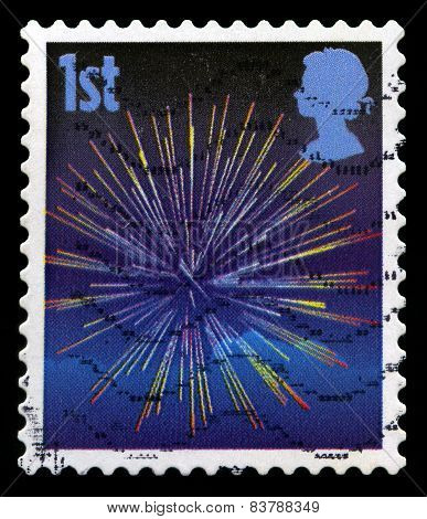 Used British Postage Stamp Of Fireworks