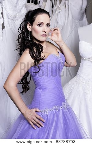 The Beuatiful Woman Dressed In Evening Dress