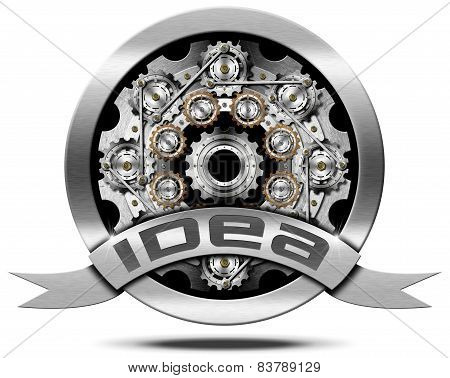 Idea - Metal Icon With Gears