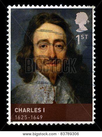 King Charles I Used Postage Stamp