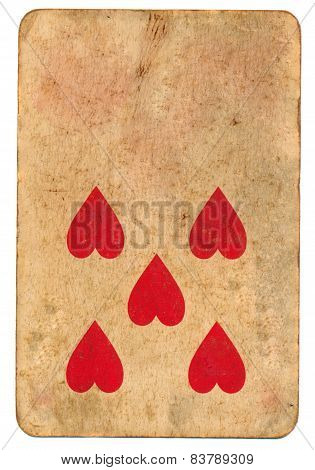 Five Red Heart Symbol On Old Playing Card Paper Background