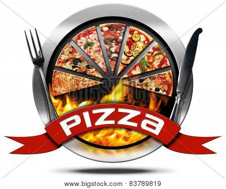 Pizza - Metal Icon With Cutlery