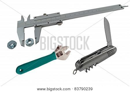 Vernier Caliper, Pocket Knife And Wrench