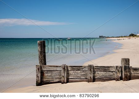 Scenic old jetty remains on Busselton Beach at Geographe Bay