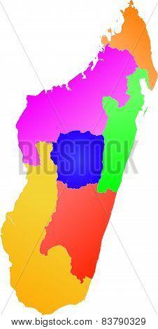 Madagascar - color map of the provinces
