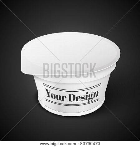 White Short And Stout Tub Food Plastic Container For Dessert, Yogurt, Ice Cream, Sour Sream Or Snack