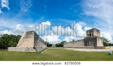Huge Panorama Of Mayan Ball Game Field. At Chichen Itza, Traveling Riviera Maya, Mexico Adventure.