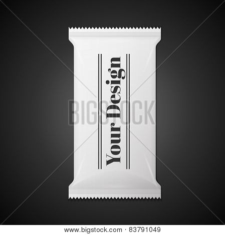 White wet wipes package isolated on black background