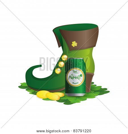 an isolated traditional boots with clovers golden coins and a can of beer