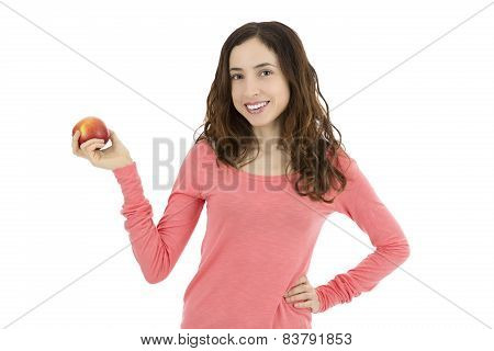 Attractive Young Woman Showing A Red Apple