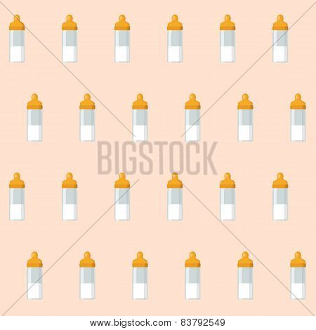 Seamless background with baby bottles and nipples