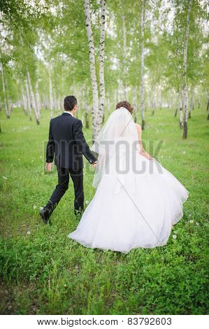 A newly wed couple walking through forrest holding hands