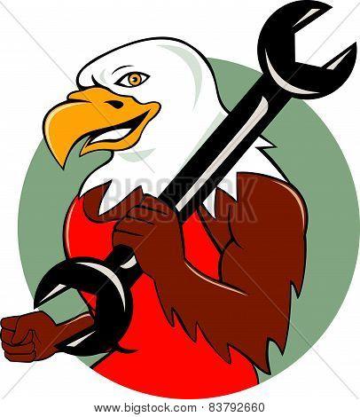 American Bald Eagle Mechanic Wrench Circle Cartoon