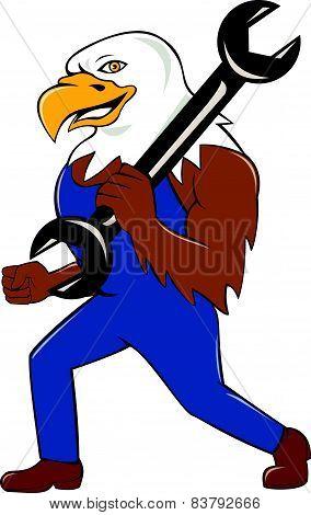 American Bald Eagle Mechanic Wrench Cartoon