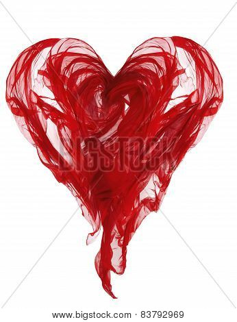 Heart Shape Cloth, Red Fabric Waving Folds, Flying Textile Abstract Object Isolated Over White