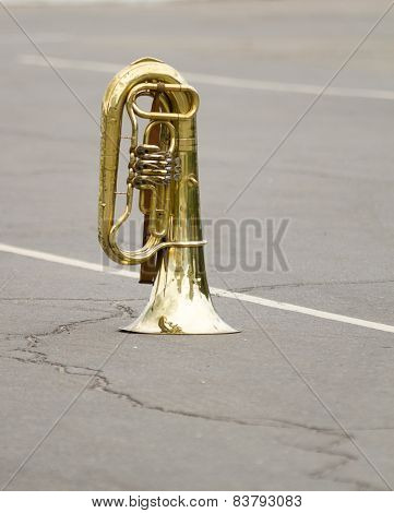 Old orchestral wind instrument a brass pipe