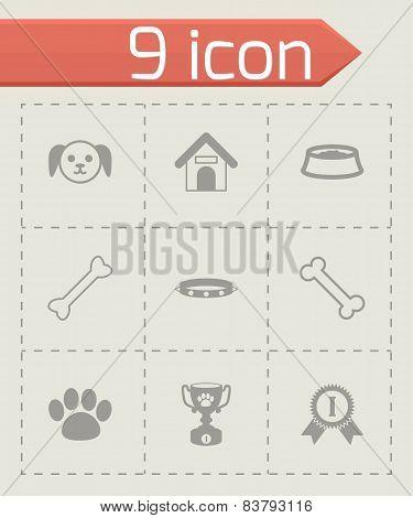 Vector black dog icon set