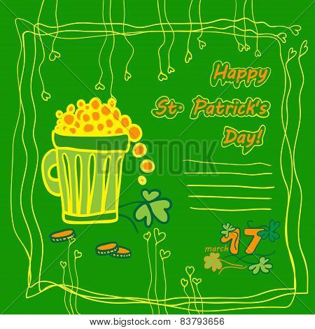 Irish st patrick day party card with flat symbols of the holiday and place for text. Vector illustra