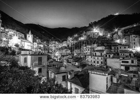 Riomaggiore Village At Night Black And White